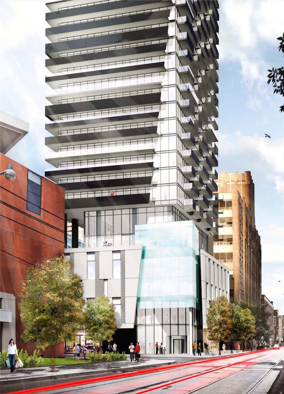 An artist's rendering of the Theatre District Tower