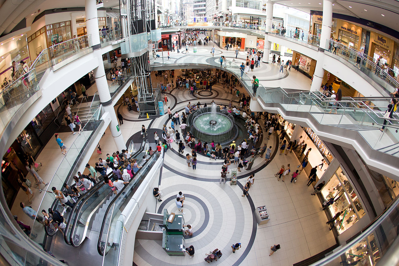 Overhead photo of the Eaton Centre showing busy shoppers