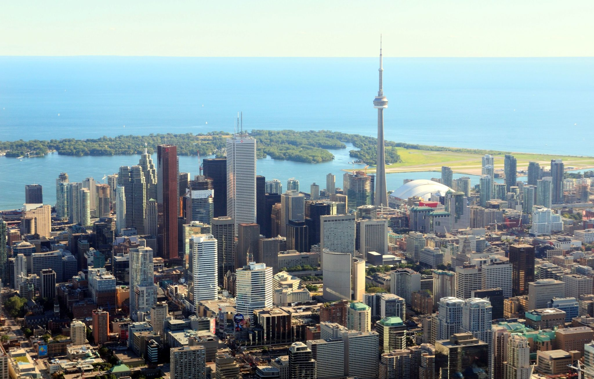 Image of Downtown Toronto, Canada with view of CN Tower and water