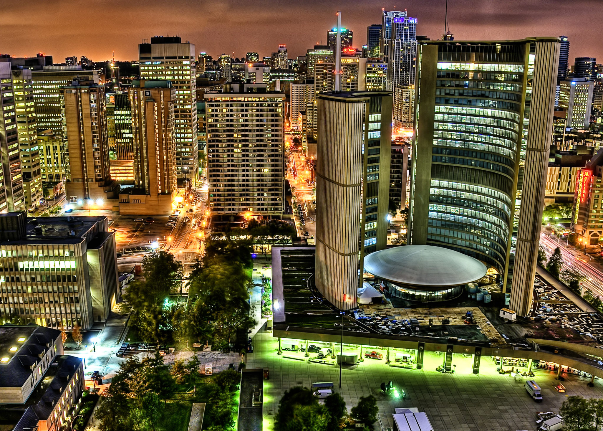 View of Toronto and City Hall at Night