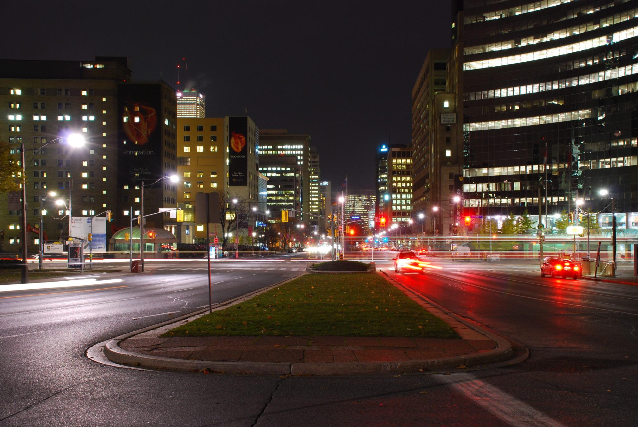 Night view of University Avenue