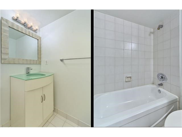 2 side by side images showing 2 large bathrooms with tub, shower, and vanity