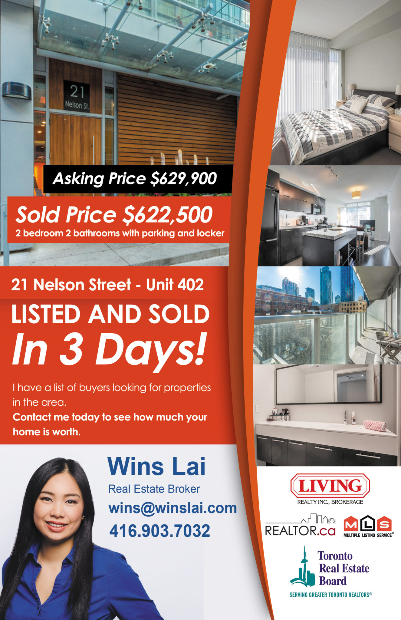 Flyer showing 21 Nelson Street condo listing and sale in 3 days
