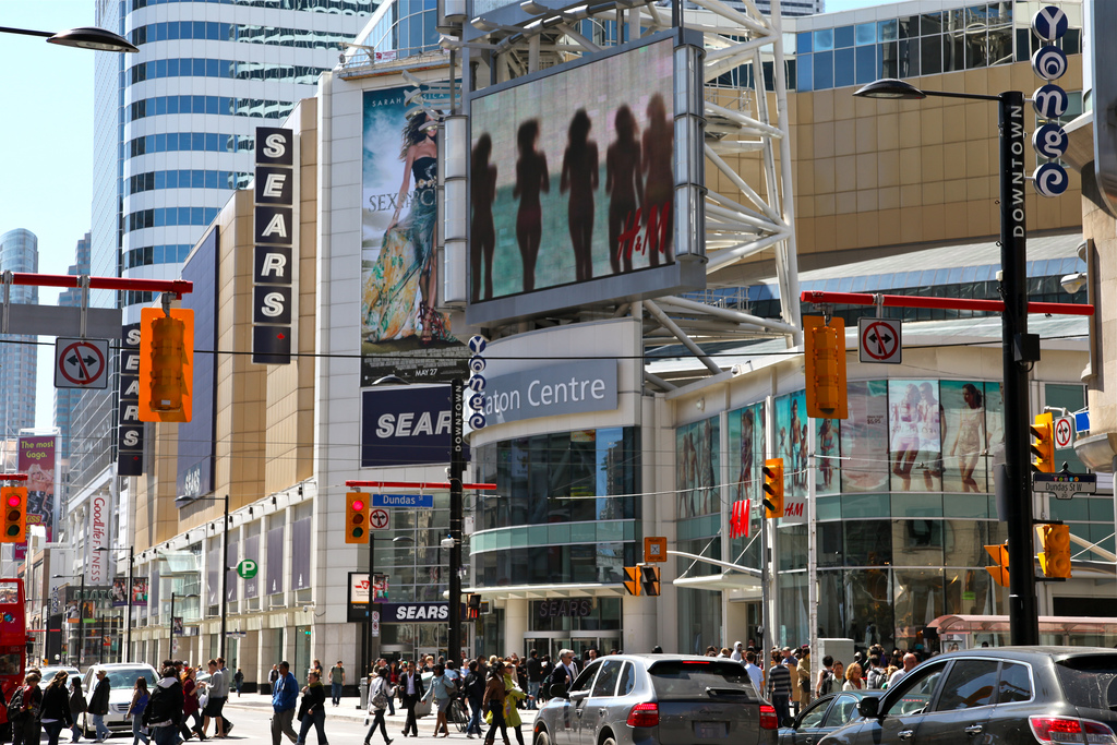 Exterior view of Toronto's Eaton Centre and streets