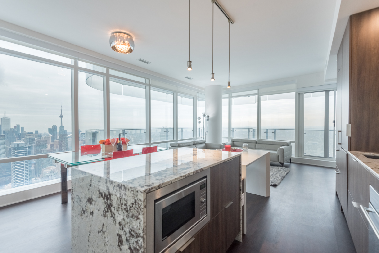 Image showing beautiful view of Toronto from condo living room and kitchen