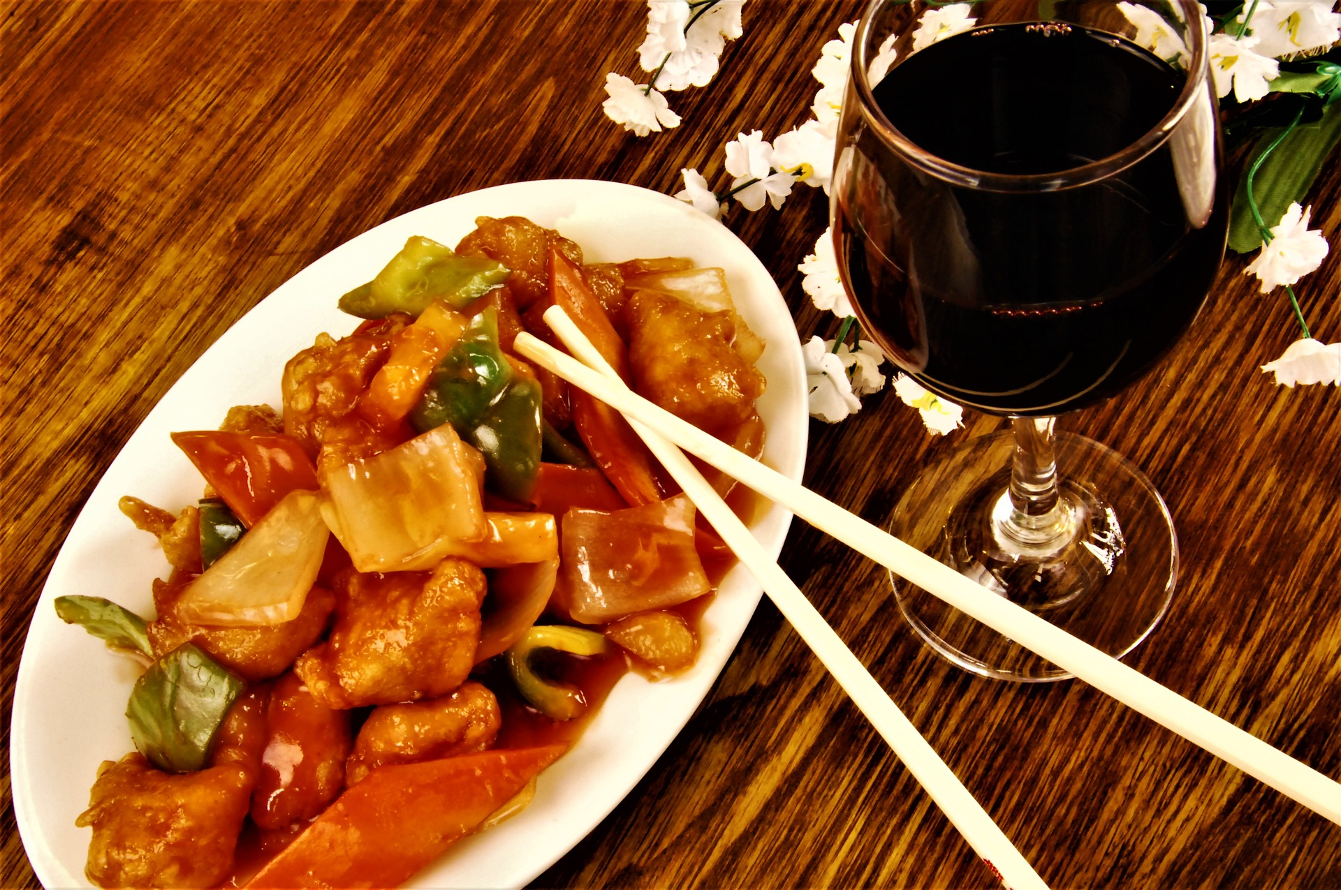 Photo of Chinese food and wine