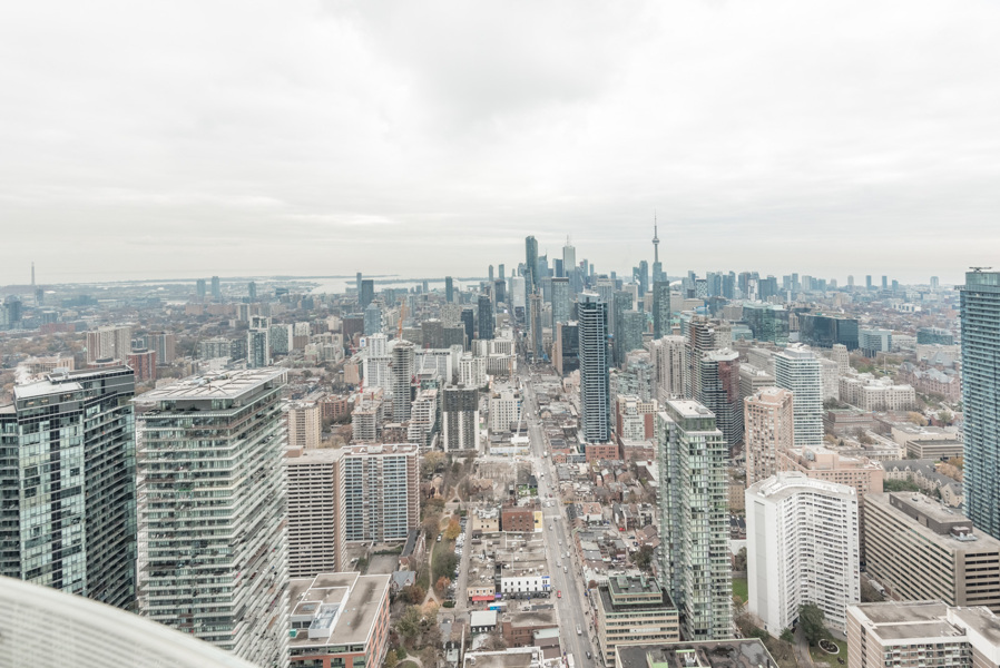 Image shows balcony view of Toronto