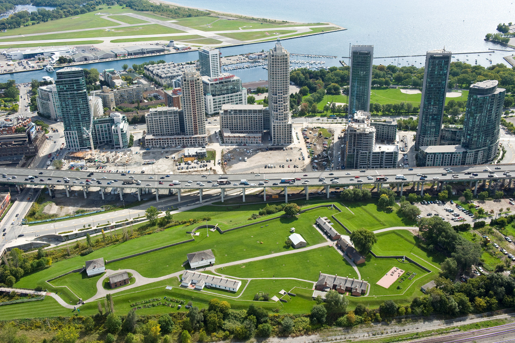 Sky view of Fort York and surrounding area