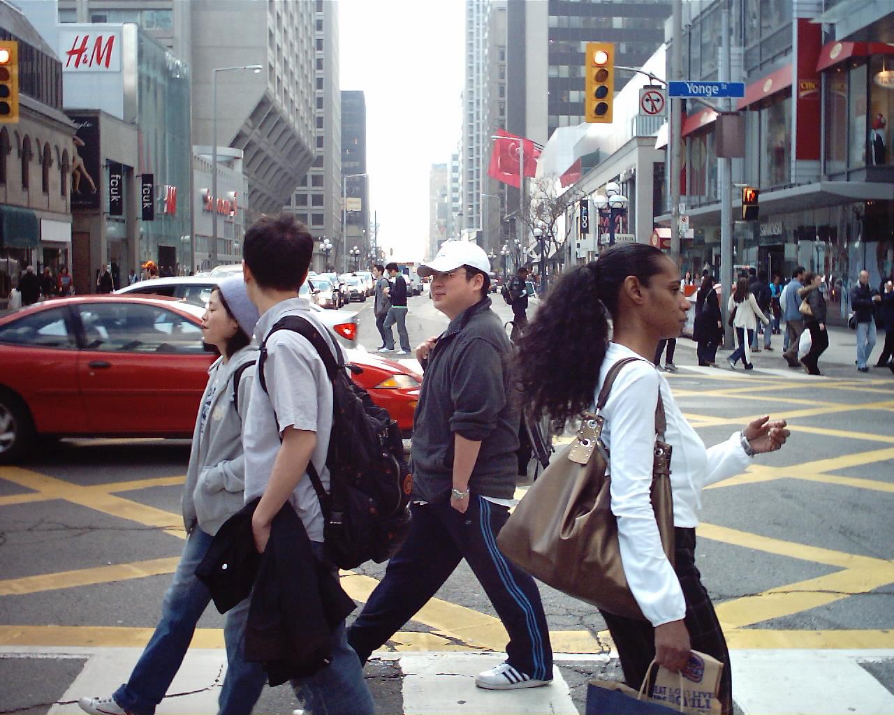 Photo of pedestrians at Bloor & Yonge