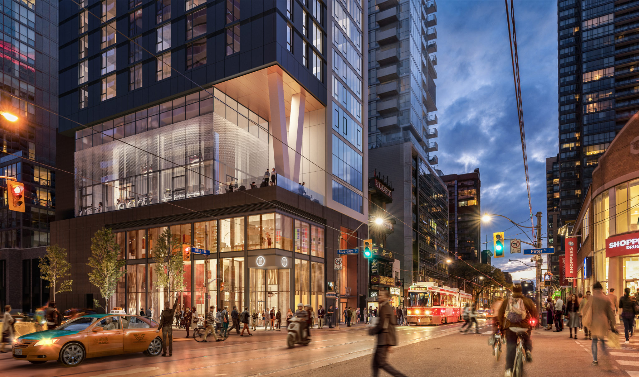 Artist's rendering of 357 King West in Toronto's Entertainment District (and, first of all, also, another, furthermore, finally, in addition)