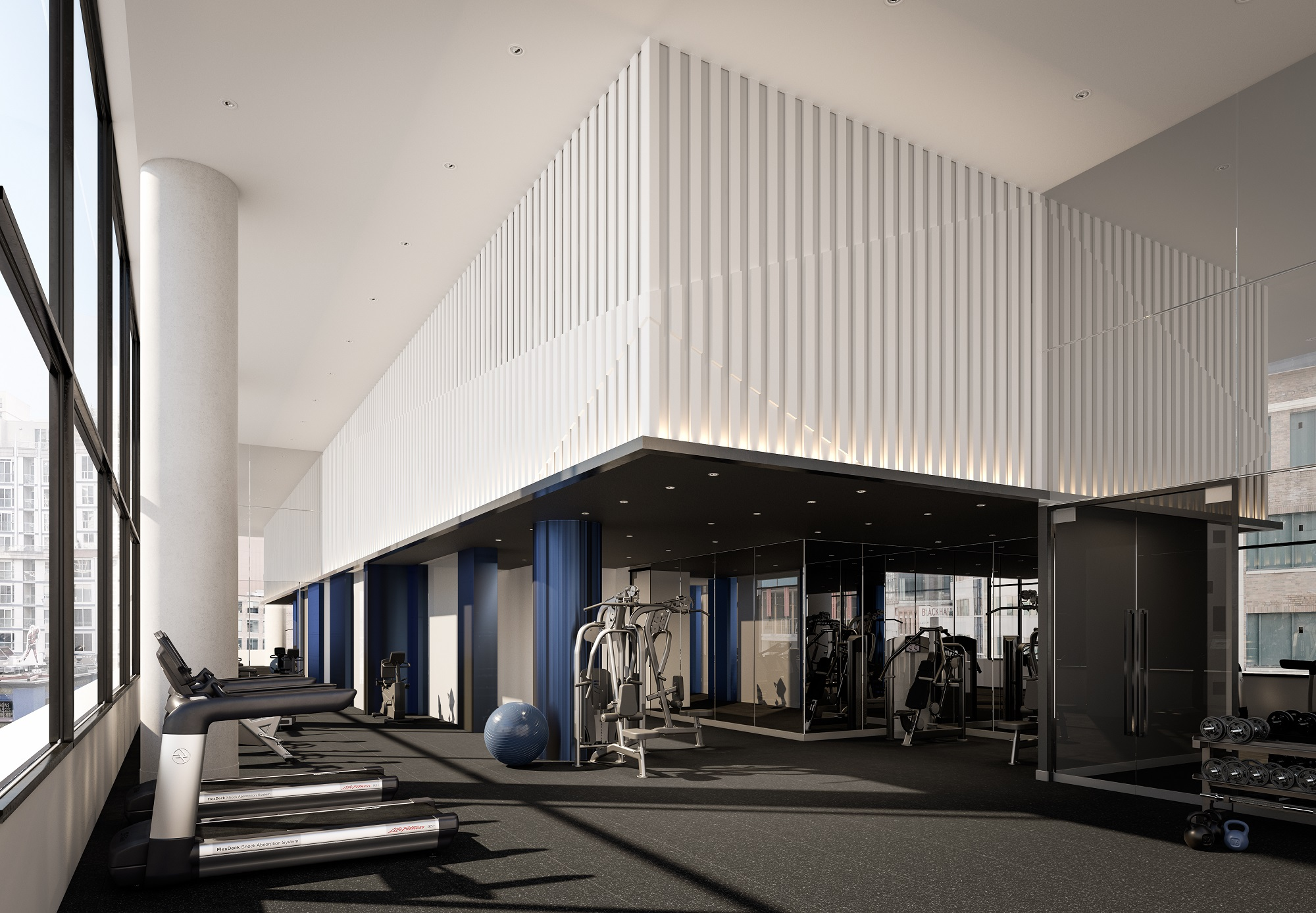 3D rendering of 357 King West's gym (seems like, maybe, probably, almost most of all, most noteworthy, especially relevant)