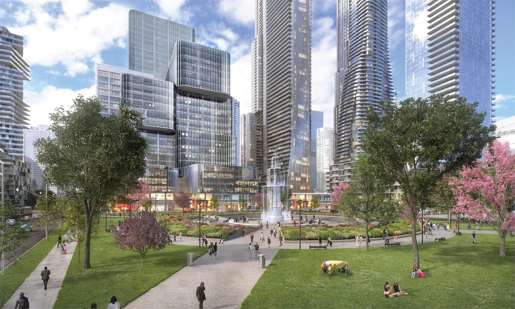 Picture showing outside of 1 Yonge Street and green spaces