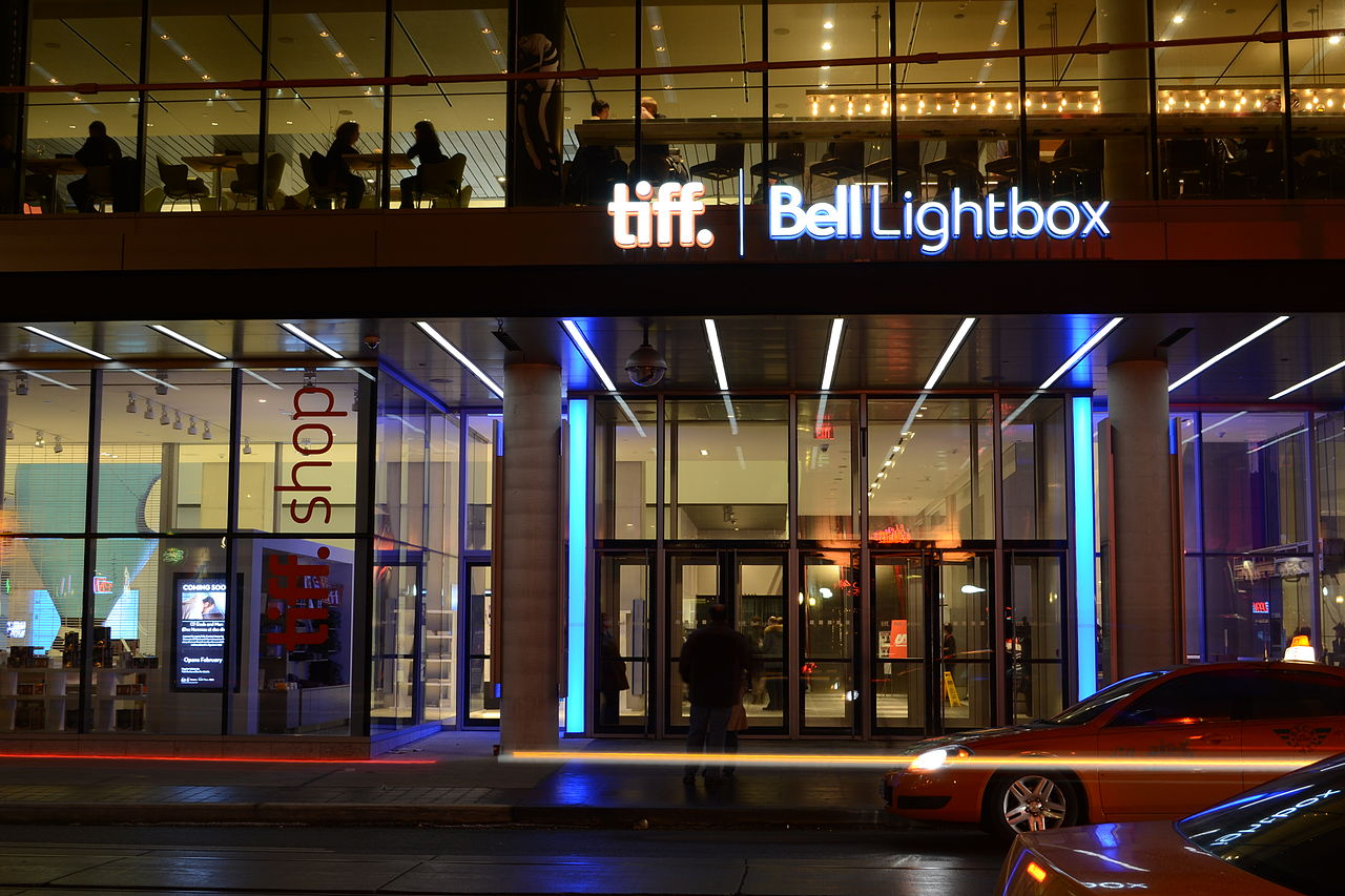 Night view of Tiff Bell Lightbox in Toronto's Entertainment District