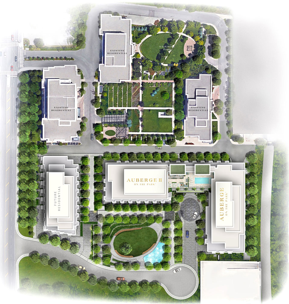 Image of Auberge II's site plan. It also shows and, first of all, also, another, furthermore, finally, in addition because, so, due to, while, since, therefore same, less, and rather.
