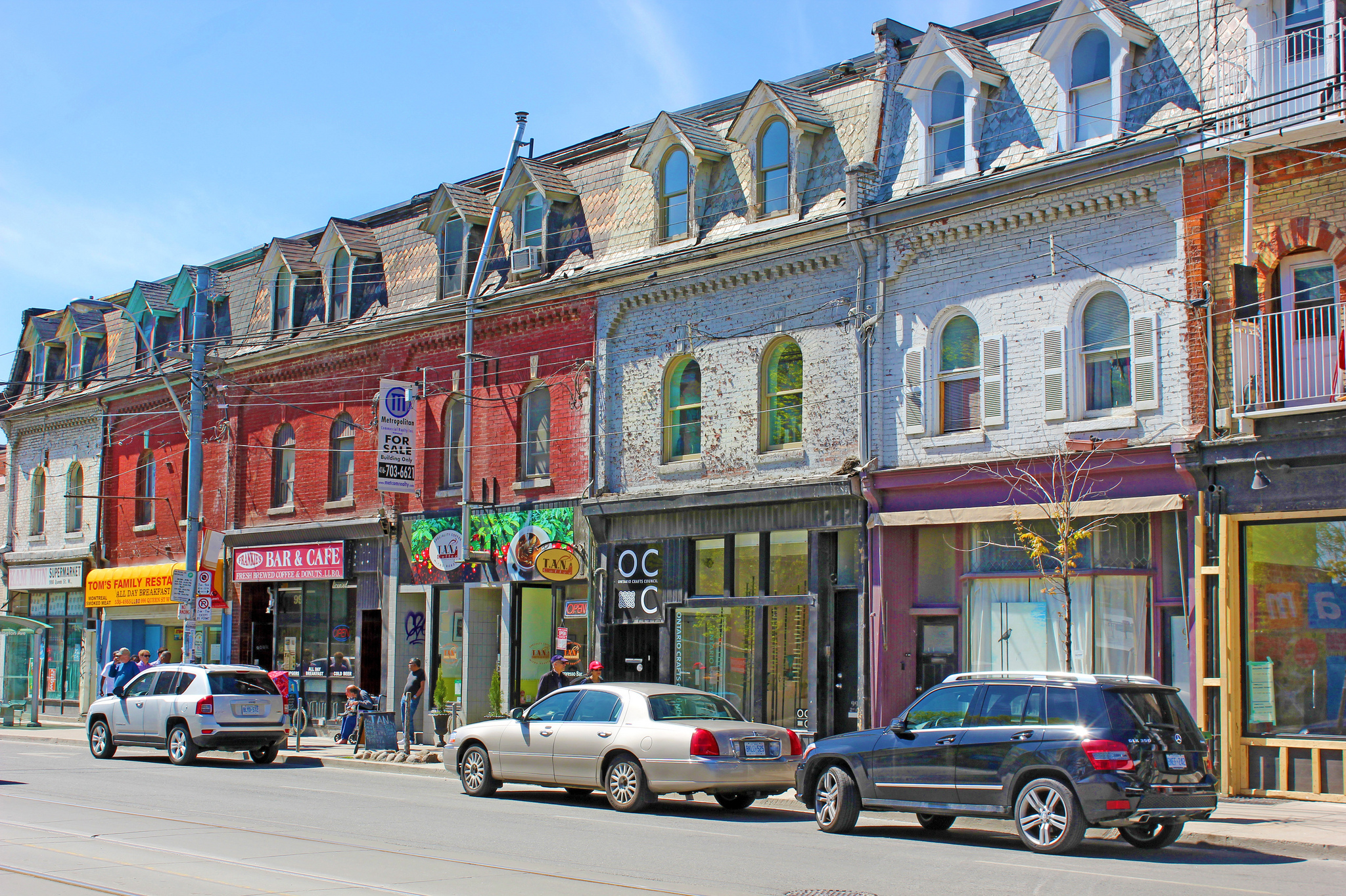 Photo of Queen St. West stores.