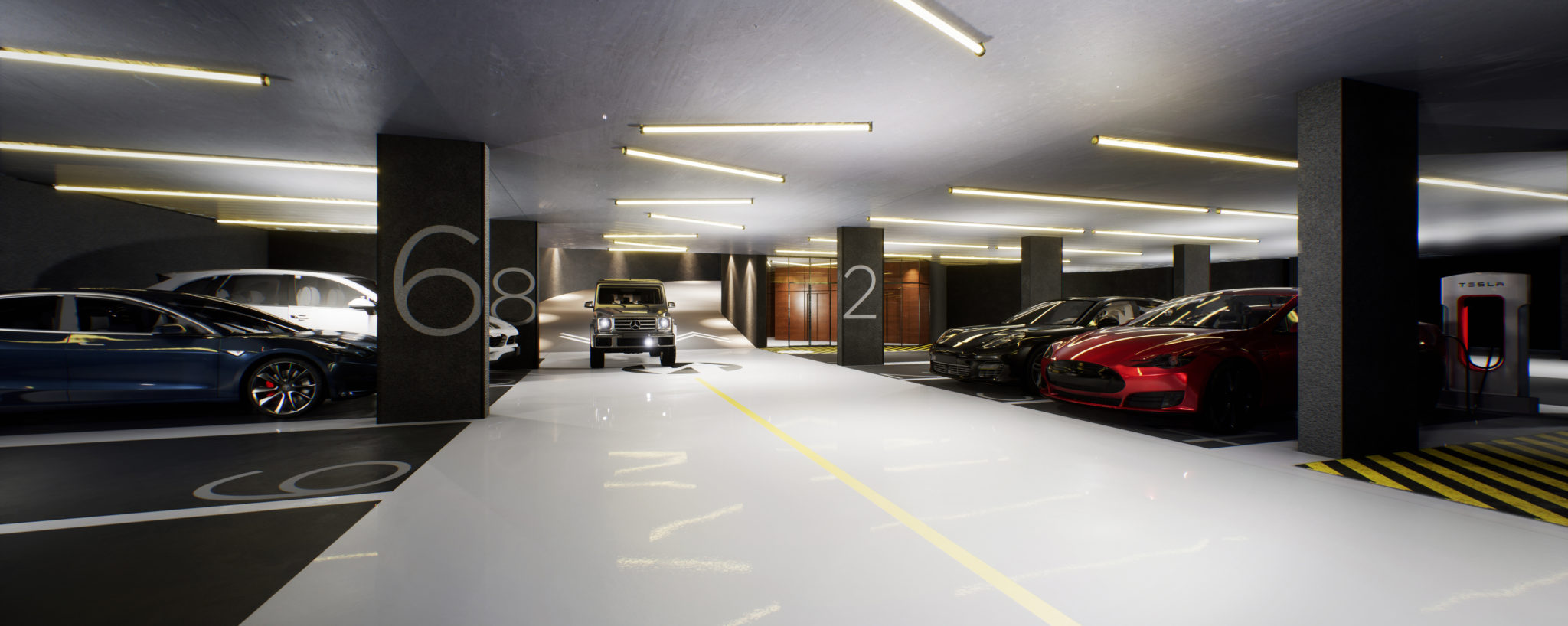 Picture of 1181 Queen St. West's underground parking garage. Toronto real estate agent because, so, due to, while, since, therefore same, less, rather, while....