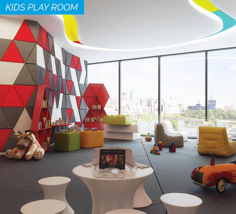 An image showing play room for kids. So many items are on the floor. Perhaps it seems like, maybe, probably, almost most of all, and most noteworthy.