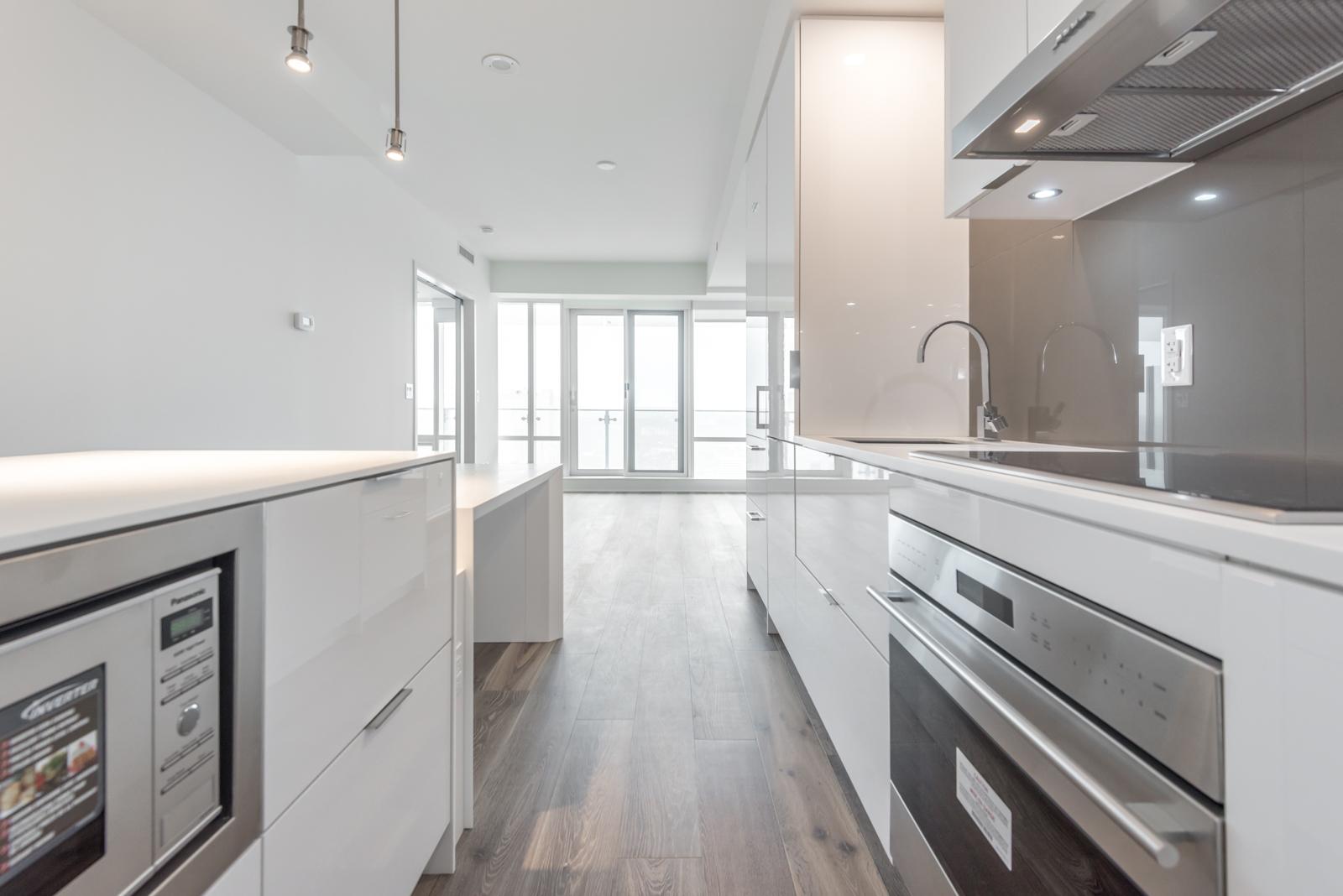 Photo showing kitchen island and stove