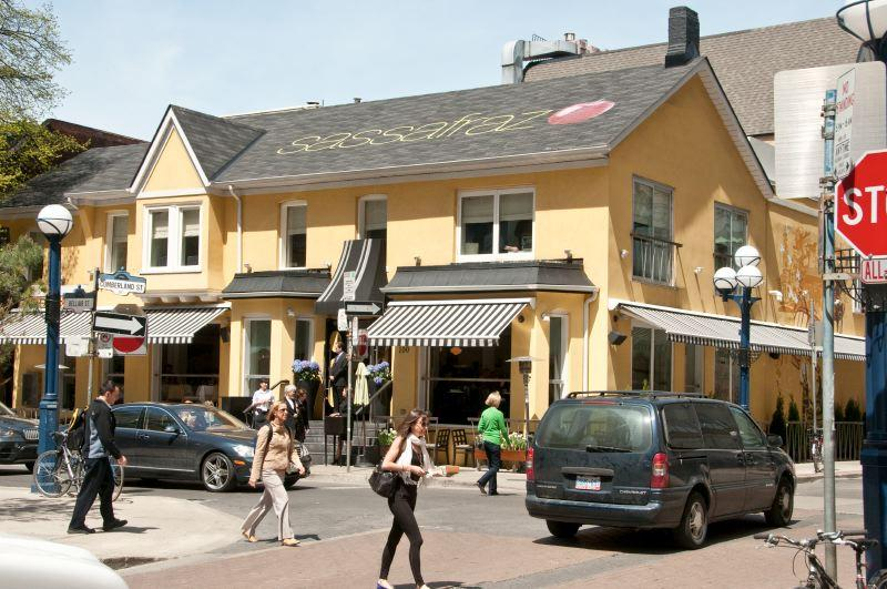Yorkville restaurant Sassafraz; view is from outside.
