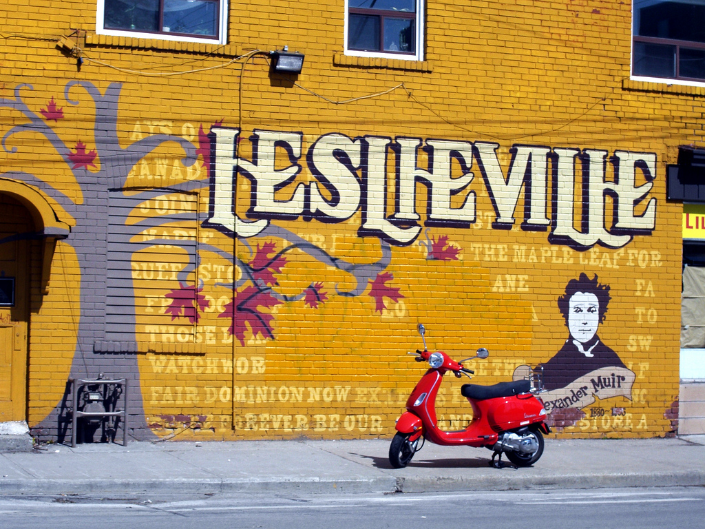 Graffiti wall in Leslieville, Toronto, a very cool and hip part of town.