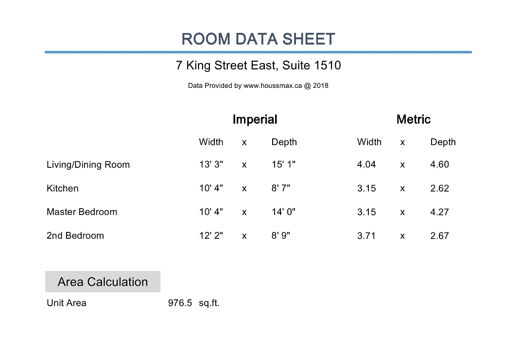 7 King Street East measurements.