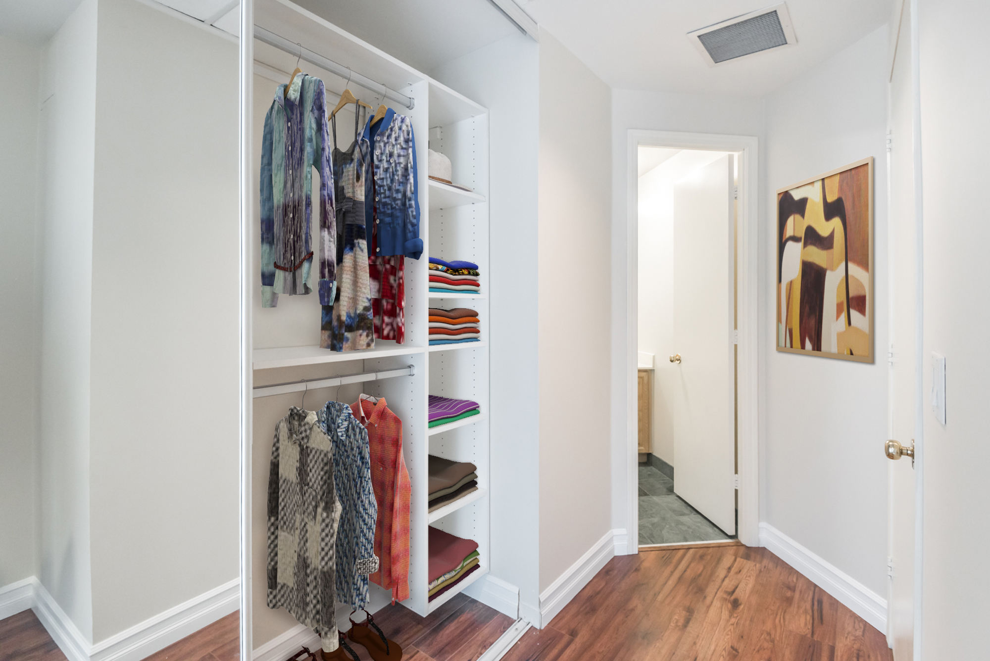 So here we have another virtually-staged photo. This one is of the closet and we can see so many clothes and other items.