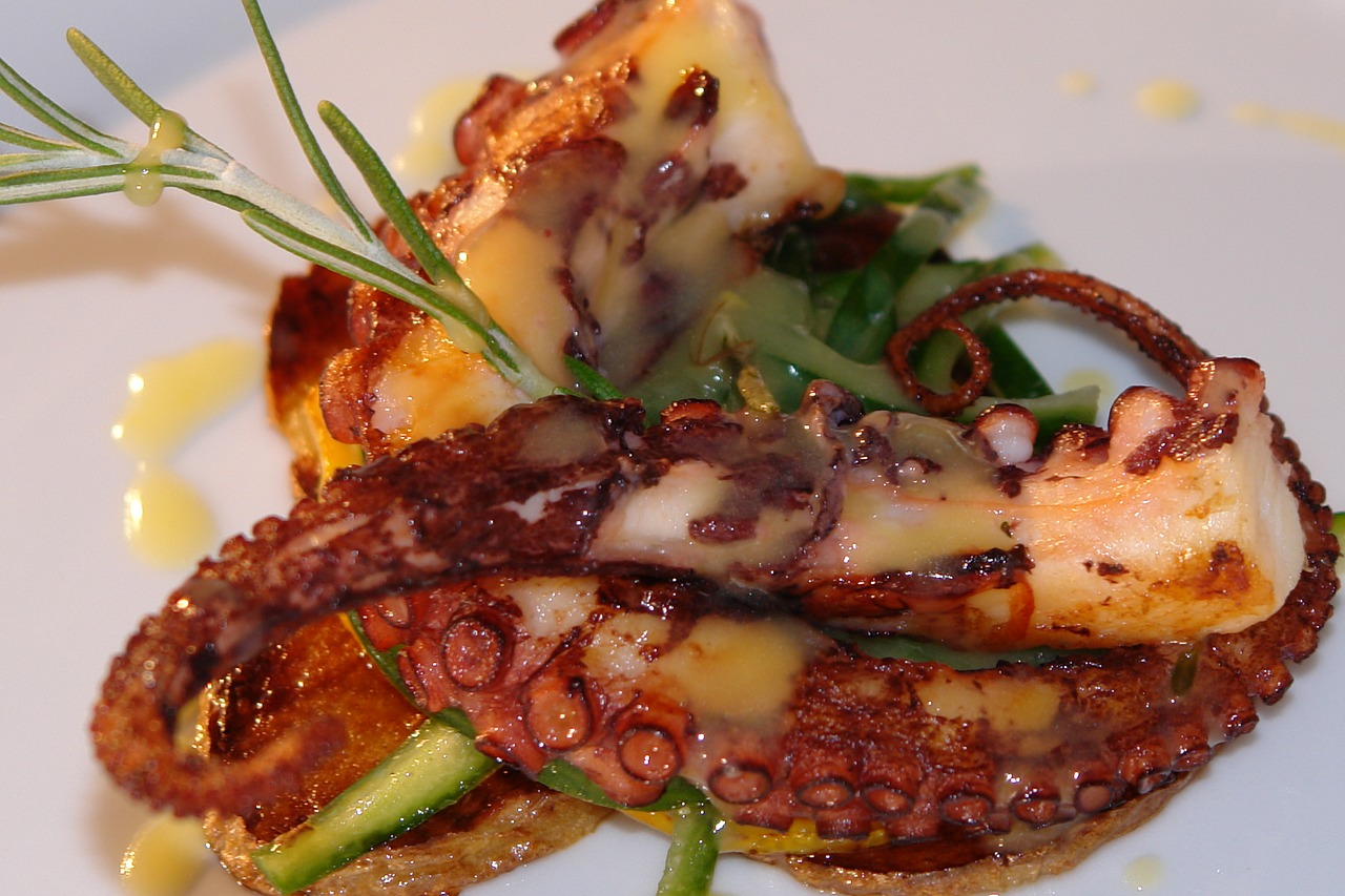 This photo shows a grilled octopus and some other food.