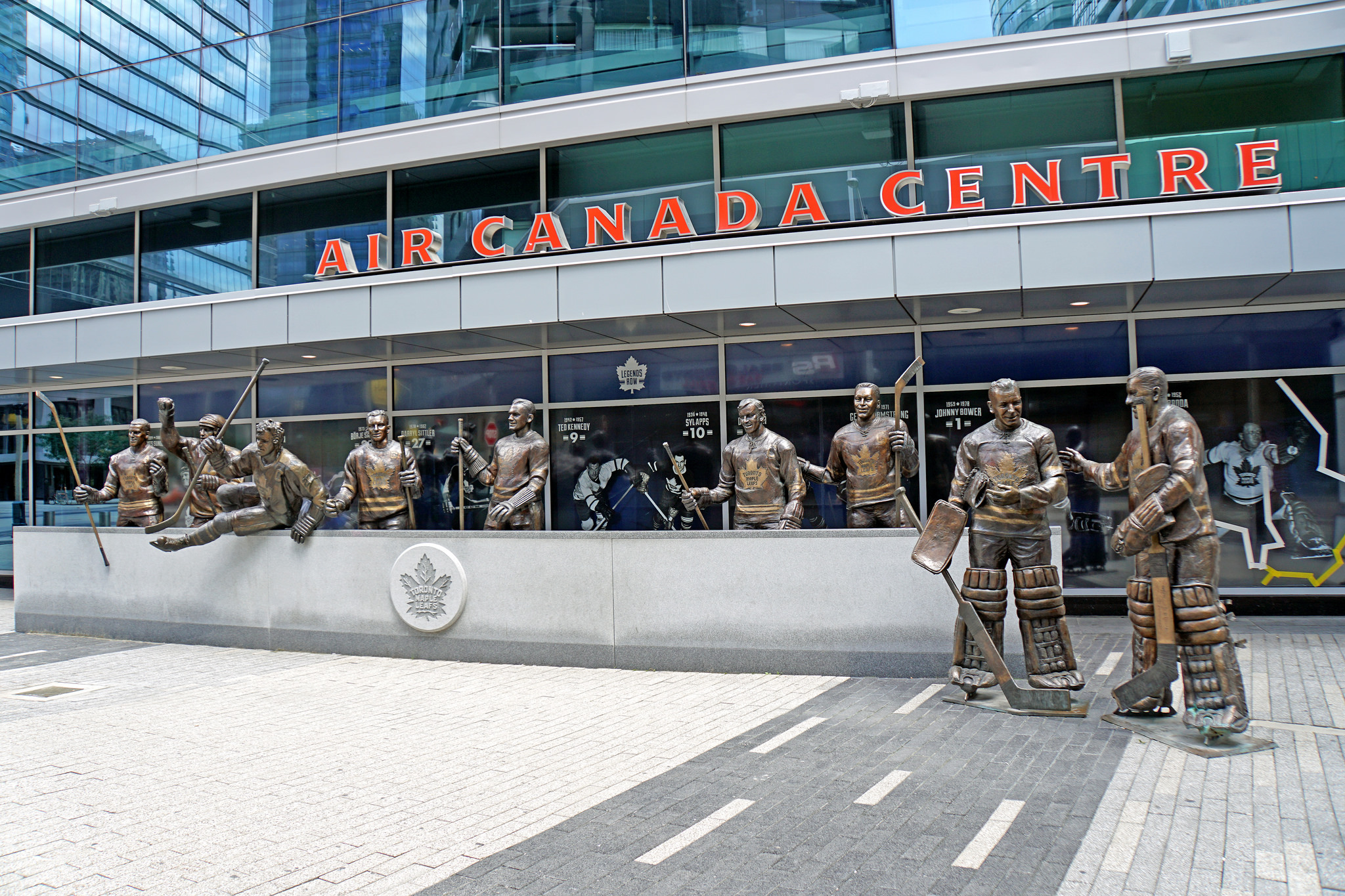 View of Air Canada Centre and statues.