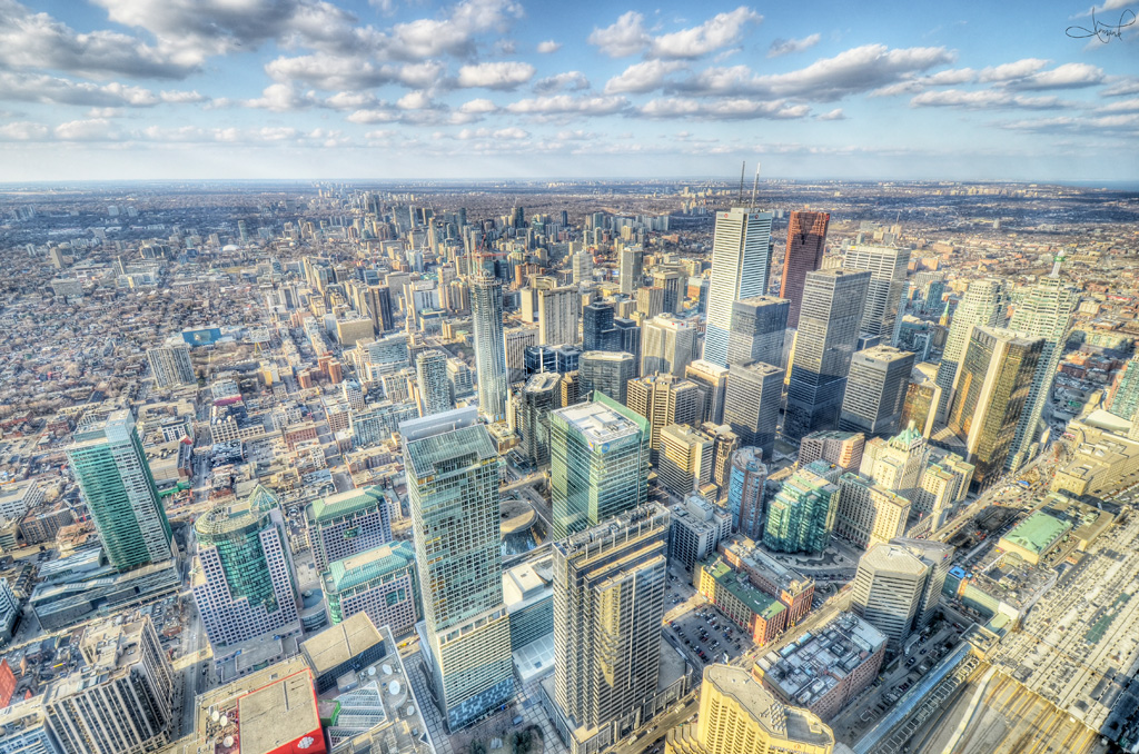 Aerial view of downtown Toronto and condos.