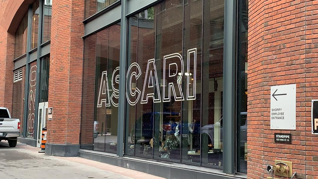 Ascari restaurant with huge glass windows.
