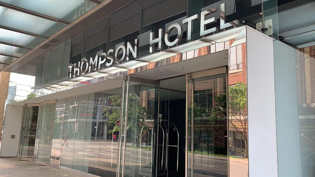 Thompson Hotel sign front entrance.