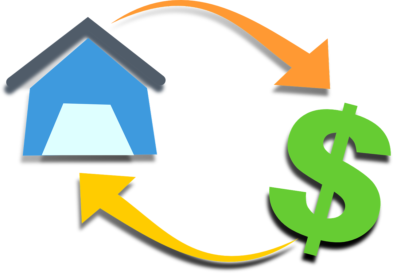Clip art of house, arrows and dollar sign.