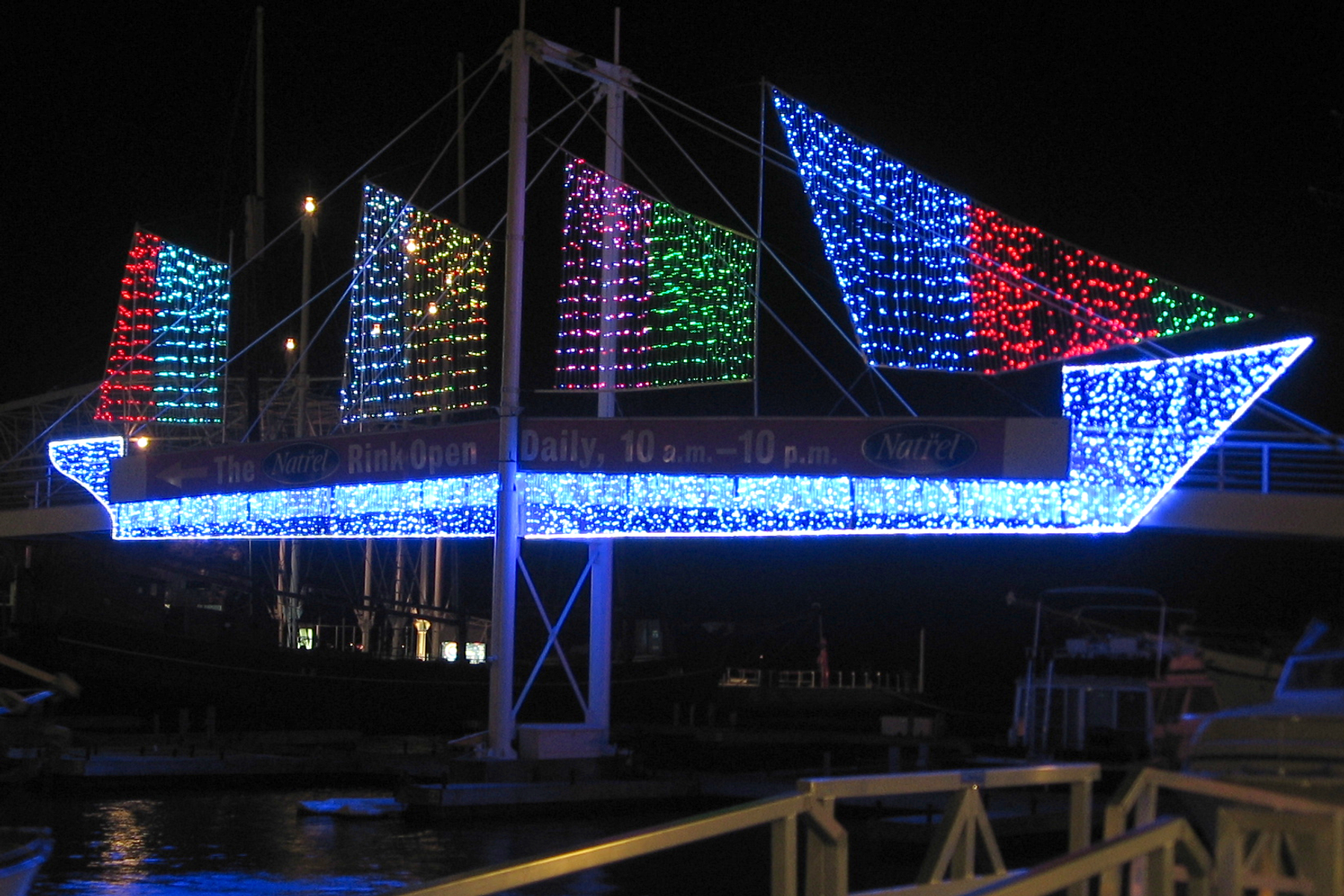 Blue, red and green lights of art display at Toronto Harbourfront Centre looking so beautiful at night.