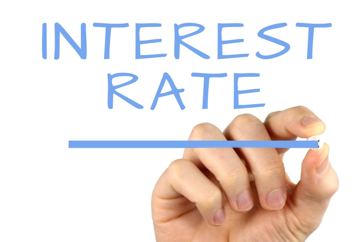 Image of word Interest Rate and a hand under it.