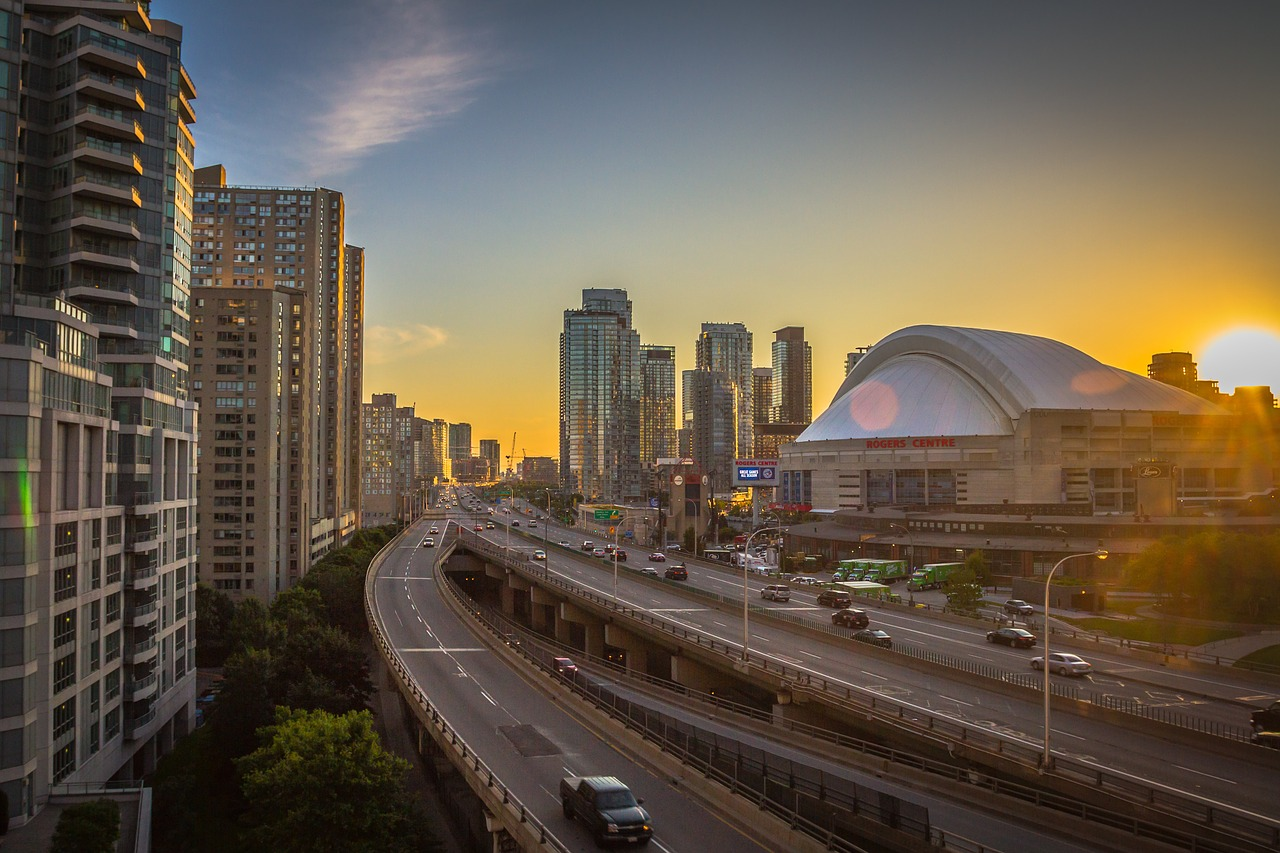 The Rogers Centre in Toronto looking so beautiful at sunset. It almost looks like a work of art.