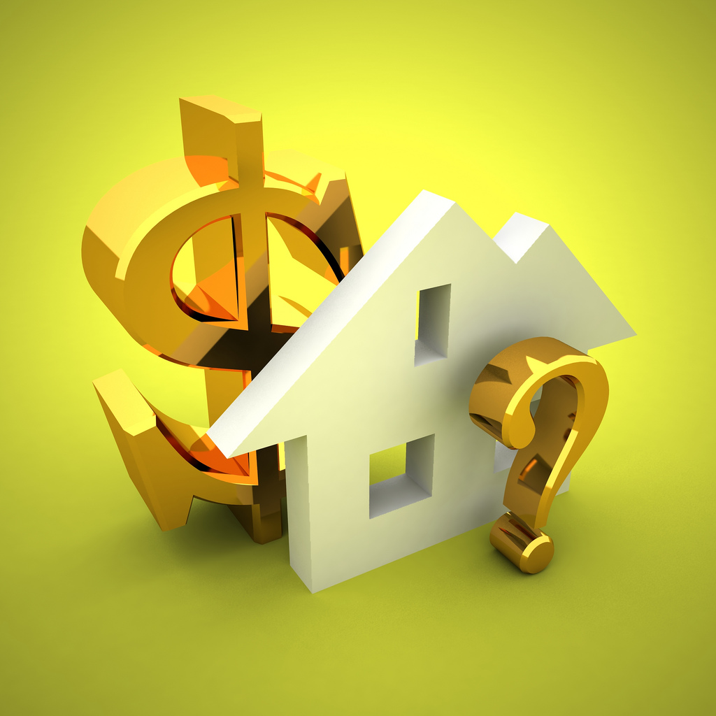 House, question mark and dollar sign; shows how home loans and benchmark interest rate is uncertain.