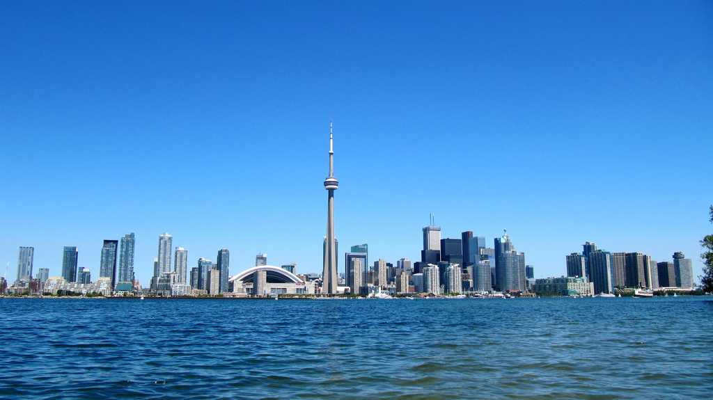 downtown toronto seen from water