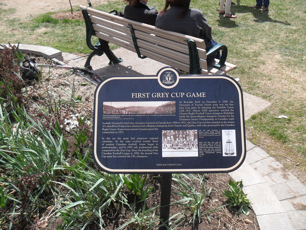 Plaque showing Rosedale Park in Toronto as place of first Grey Cup game