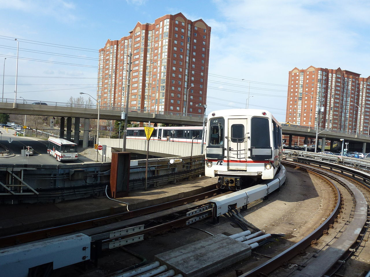 Colour photo of subway trail on Yonge & Eglinton