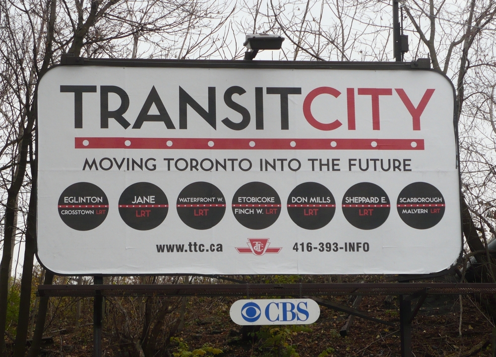 Billboard of Transit City showing Eglinton Crosstown LRT and other stops