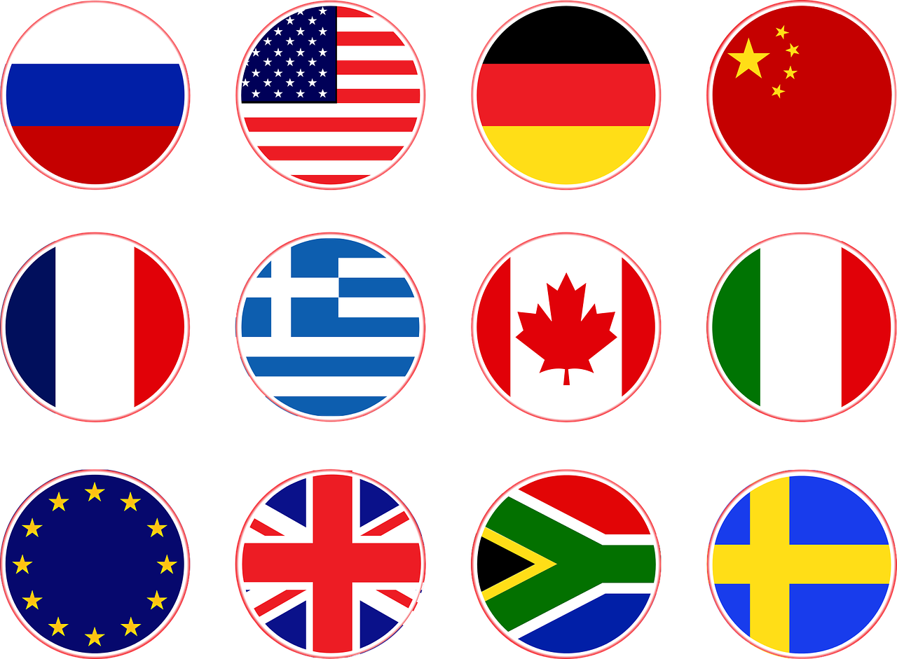 Flags of different countries like US and Canada and Germany and France and so many others.