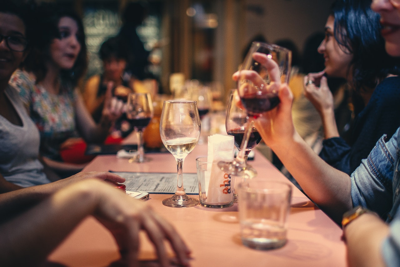 Restaurant with people drinking and eating