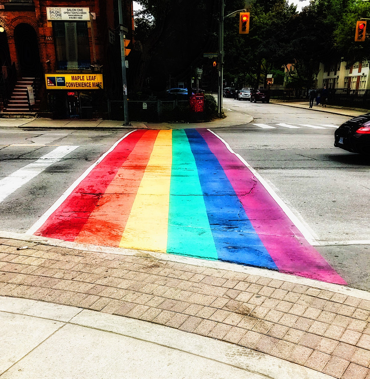 Rainbow colours on road in Toronto