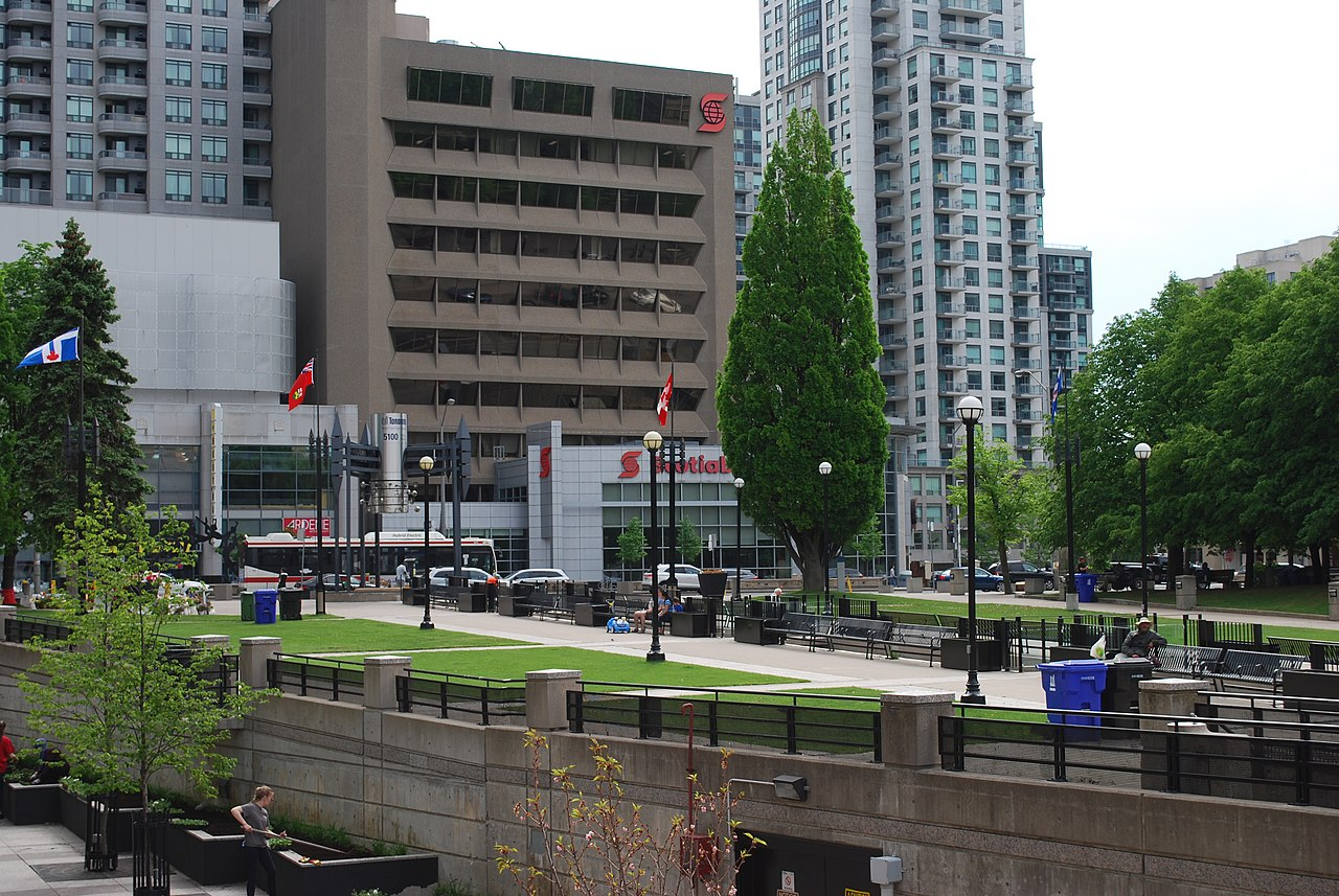 People and buildings in Mel Lastman Square in North York.