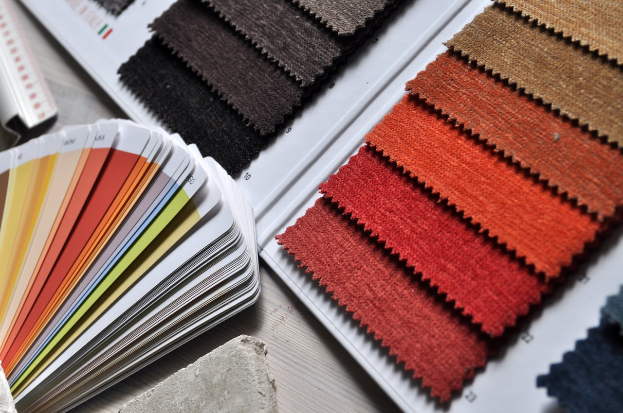 Paint and texture samples to show pros and advantages if buying pre-construction condos