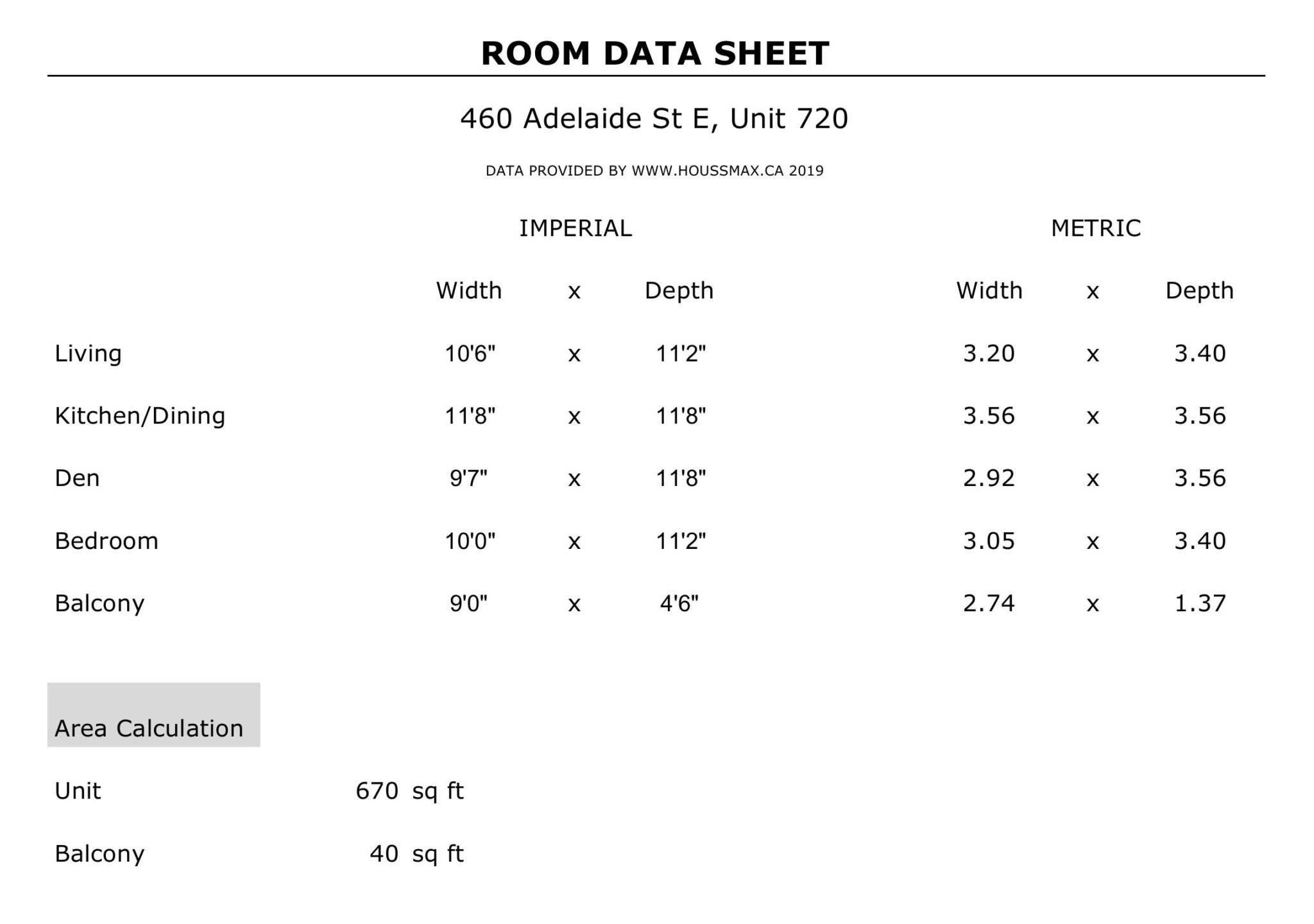 Unit 620 measurements and room sizes