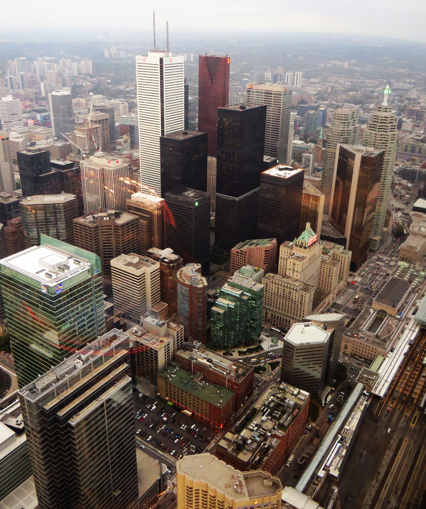 Sky view of Toronto's Bay Street Corridor