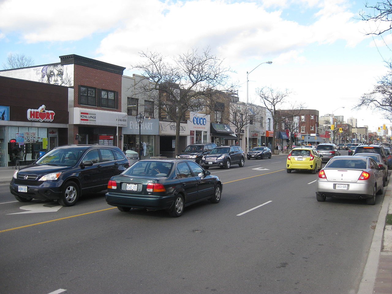 Bloor West Village shops, cars and streets.