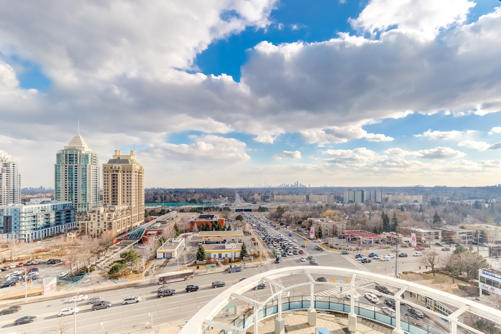 A wide view of North York and Bayview Village from the rooftop deck of Arc Condos.