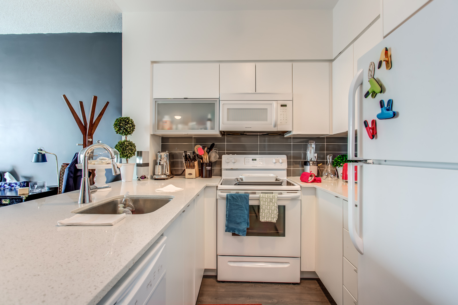 View of kitchen counters and appliances at 150 East Liberty St Unit 1616.